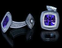 Mousson Atelier Mens Tanzanite & Diamond Cufflinks C0046-0/1