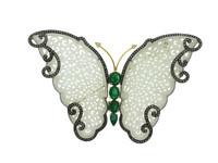 Jade, Emerald & 2.88 ct Diamond Buttefly-Shaped Brooch