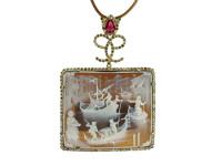 Hand-Made Cameo With Ruby & 2.65 ct Diamond Pendant