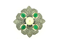 Pearl, Emerald & 2.68 ct Diamond Flower-Shaped Brooch