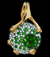 "Mousson Atelier Cosmos Collection ""UFO"" Green Tourmaline, Tsavorite & Diamond Pendant P0038-0/1"