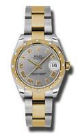 Rolex Datejust 31mm Steel & YG 24 Dia Bezel Oyster 178343GRO