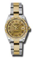 Rolex Datejust 31mm Steel & YG 24 Dia Bezel Oyster 178343CHCAO