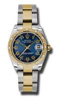 Rolex Datejust 31mm Steel & YG 24 Dia Bezel Oyster 178343BLCAO