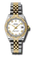 Rolex Datejust 31mm Steel & YG 12 Dia Bezel Jubilee 178313WRJ