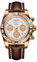 Breitling Chronomat 41 RG Dia Bezel LeatherDeployant HB0140AA/A722