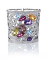 Gayubo 18K WG Greco-Roman Multicolor Gemstone & Diamond Cuff Bracelet 9583/C