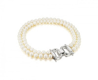 Double-Strand Horsebit Pearl Necklace 100-3106