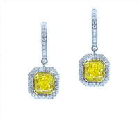 1.84 cttw Intense Yellow Radiant Cut Diamond Earrings In 18k White Gold
