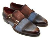 Paul Parkman Captoe Double Monkstrap Antique Blue & Brown Suede (ID045AN14)