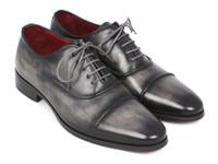 Paul Parkman Captoe Oxfords Gray & Black Hand Painted Shoes (ID077-GRY)
