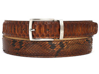 PAUL PARKMAN Men's Camel Brown Genuine Python (snakeskin) Belt (IDB03-CMLBRW)