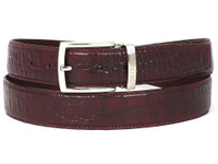 PAUL PARKMAN Men's Croc Embossed Calfskin Belt Dark Bordeaux (IDB02-DBRD)