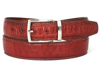 PAUL PARKMAN Men's Croc Embossed Calfskin Belt Reddish (IDB02-RDH)