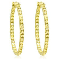 2.0 Ct Fancy Yellow Diamond Hoops
