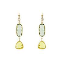 Herco 14k Yellow Gold Green Amethyst & Lemon Quartz Earrings