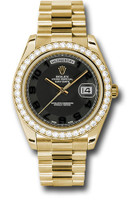 Rolex Watches: Day-Date II President Yellow Gold Diamond Bezel 218348 bkcap