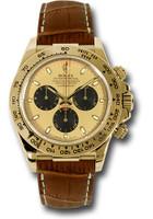 Rolex Watches: Daytona Yellow Gold - Leather Strap  116518 pnbr
