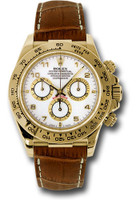 Rolex Watches: Daytona Yellow Gold - Leather Strap 116518 wabr
