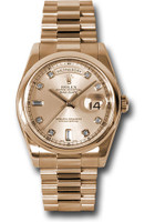 Rolex Watches: Day-Date President Pink Gold - Domed Bezel - President 118205 chdp