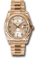 Rolex Watches: Day-Date President Pink Gold - Fluted Bezel - President 118235 chdp