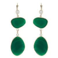 Herco 14k Yellow Gold Green Agate Earrings