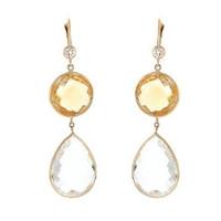 Herco 14k Yellow Gold Crystal Quartz & Citrine Earrings