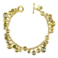 Herco 18k Yellow Gold Multi-color Stones Bracelet