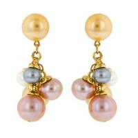 Herco 18k Yellow Gold Multi-color Pearl Earrings