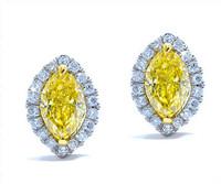 1.26 cttw Fancy Yellow Marquise Diamond Earrings In 18k White Gold