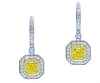 1.82 cttw Radiant Cut Diamond Dangle Earrings In 18k White Gold