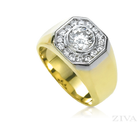 Ziva Men's Ring with 1 Carat Round Center Diamond