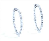 2.30 cttw Diamond Hoop Earrings In 14k White Gold