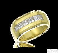 Ziva Large Men's Ring with Princess Cut Diamonds