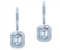 1.67 cttw Emerald Cut Diamond Dangle Earrings In 18k White Gold