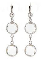 Herco 14k WG Crystal Quartz Earrings