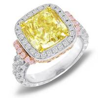 6.70ct Certified Natural Cushion Cut Fancy Intense Yellow Diamond Ring