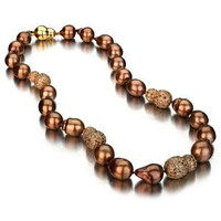 Chocolate Baroque Tahitian Pearl Necklace w/ Baroque Diamond Ball