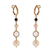 Herco 18k RG Quartz & Pearl Earrings