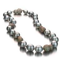 Grey Baroque Tahitian Pearl Necklace w/ Baroque Diamond Ball