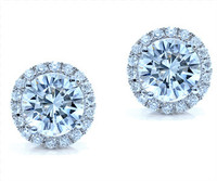 1.13 cttw Round Diamond Earrings In 18k White Gold