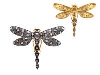 2.66 ct Rose Cut Diamond Dragonfly-Shaped Brooch /Pendant