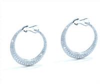 2.27 cttw Diamond Hoop Earrings In 18k White Gold