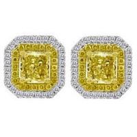 1.49 Cttw Diamond Stud Earrings (rd 0.28cttw, Ydrd 0.21cttw, Ydrad 1.00cttw)