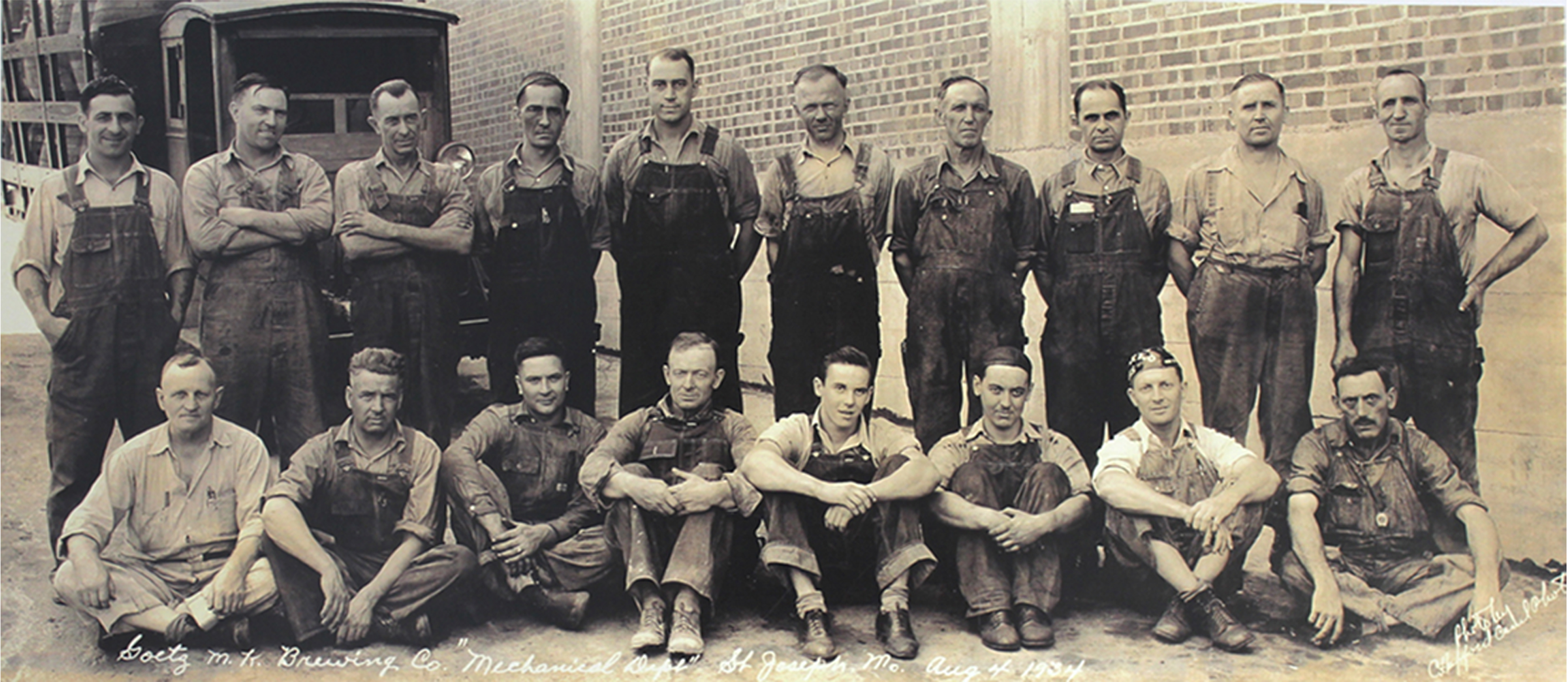 Back row, fifth from the left, George Hopkins Sr. poses with his mechanical crew from the Goetz Brewery.  1934