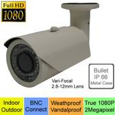 True HD 1080P AHD 2 Megapixel HD Bullet Cameras Vari-Focal 2.8-12mm Lens --- CUH08P2812W