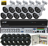 True Full HD-TVI/AHD/IP/960H Hybrid 16CH 1080P DVR Security System with 12x2-Megapixel Bullet Color Camera Network Remote Viewing
