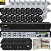 True Full HD-TVI/AHD/IP/960H Hybrid 16CH 1080P DVR Security System with 16x2-Megapixel Bullet Color Camera Network Remote Viewing
