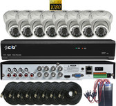 True Full HD-TVI/AHD/IP/960H Hybrid 8CH 1080P DVR Security System with 8x2.1Megapixel Dome Color Camera Network Remote Viewing
