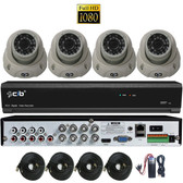 True Full HD-TVI/AHD/IP/IP Hybrid 8CH 1080P DVR Security System with 4x2.1Megapixel Dome Color Camera Network Remote Viewing